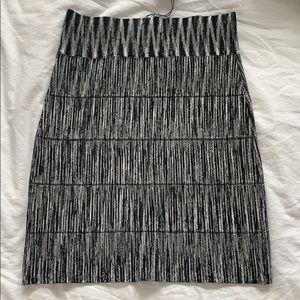 BCBGMAXAZRIA Black and White Textured Power Skirt